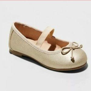 NWT Size 4 Girls Gold Ballet Flats
